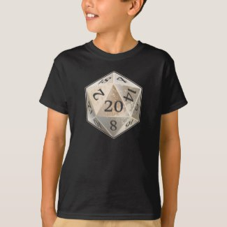 D&D D20 Ivory and Black Bone Die T Shirt