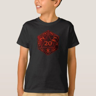 Black and Red Chaos d20 die Apparel
